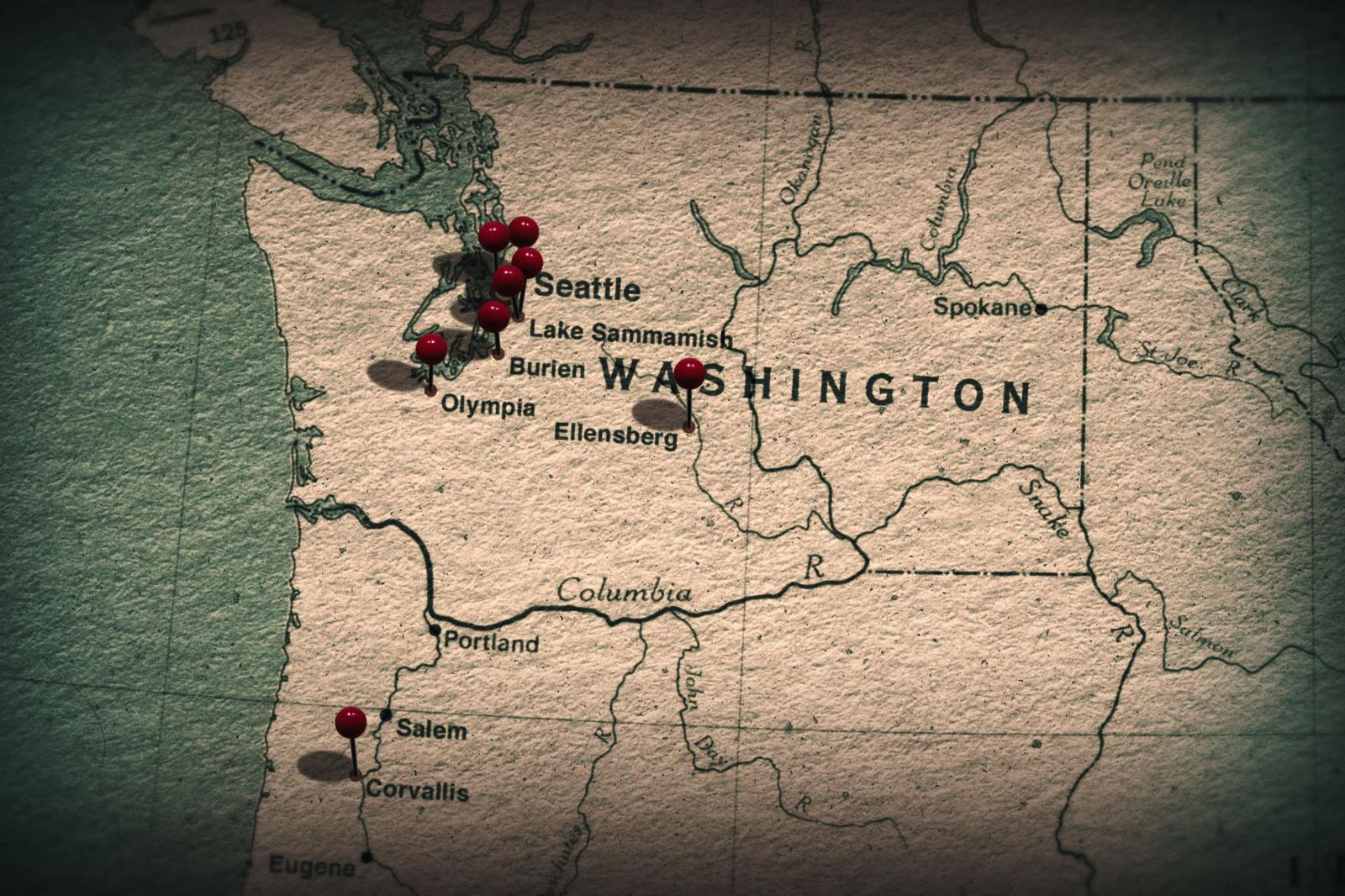Map of victim disappearances in the Washington area