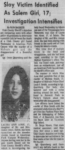 Newspaper article reporting the discovery of Laura Aime's body