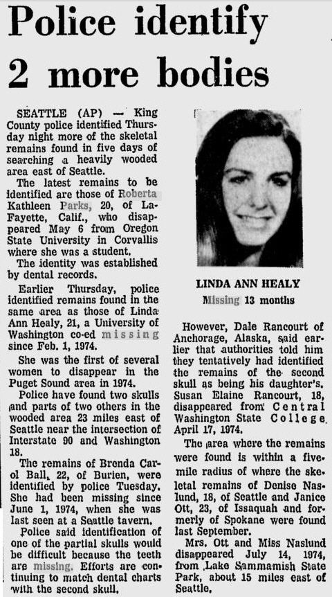 News article reporting the discovery of Linda Ann Healy and several other vicitms.