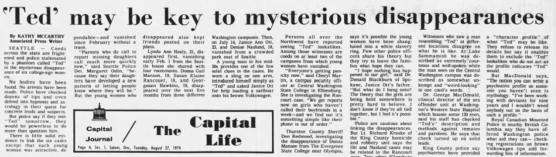 Newspaper article regarding the disappearances