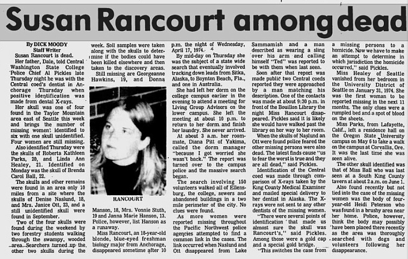 news paper article reporting the murder of Susan Ealine Rancourt