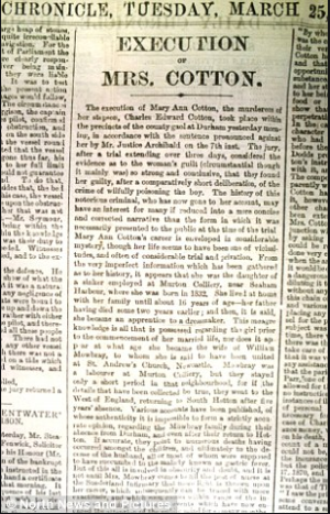 Newspaper article on Mary Ann Cotton's execution